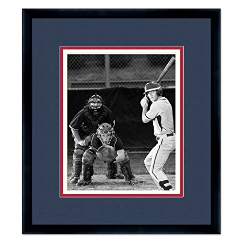 Black Wood Frame with a Triple Mat for 8x10 Photos - Black, Red Orange, White Braves Baseball Photos