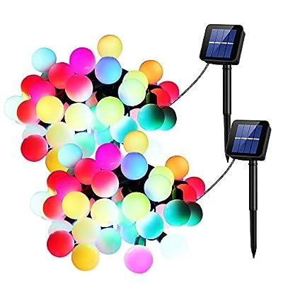 UMANOR Globe Solar String Light, 50 LED Multi-Color Starry Light Fairy Light for Wedding,Xmas Party (2 Pack,30ft)