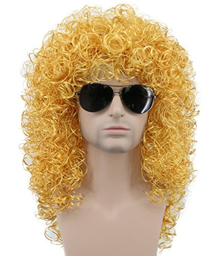 Karlery Mens Long Curly Gold Wig Halloween Costume Anime Party Cosplay Wig 80s Heavy Metal Rocker Wig