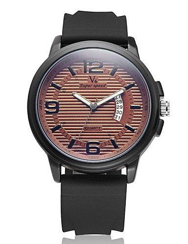 Anuncios analógica de la fecha de la moda reloj banda de goma de cuarzo de los hombres, Brown: Amazon.es: Relojes