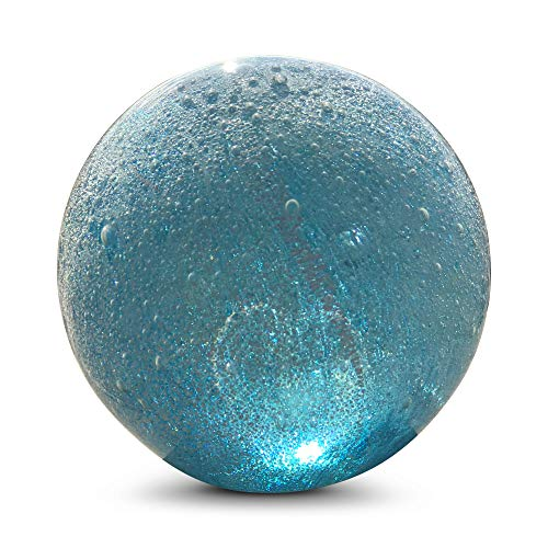 WHW Whole House Worlds Bubble Fusion Ball Paperweight, Palest Blue, Effervescent Effect, Silver and Clear, Hand Crafted Art Glass, 3 1/4 Inches Diameter Ball, No Roll Flat Bottom (8 D cm)