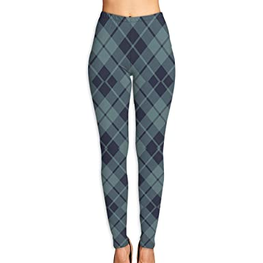 def499bad Amazon.com  JFOSKJ Women s Soft Lightweight Navy and Slate Diagonal Tartan  Printed Leggings High Waist Yoga Pants Training Leggings  Clothing