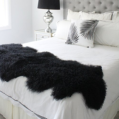 genuine black Tibetan Mongolian Sheepskin lambskin bed scarf runner throw 24x71