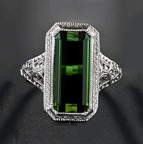 Tomikko Huge 8.2ct Emerald Women Men 925 Silver Ring Engagement Wedding Prom Size 6-10 | Model RNG - 12683 | Ring ()