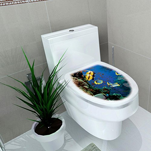 Compia 32 x 39CM Cartoon Removable Mixed Designs Cover Sticker Toilet Stool Commode Stickers with Safety and Health PVC Material (Deep Blue)