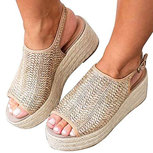Ru Sweet Women's Espadrille Wedge Sandals Braided Jute Ankle Buckle Platform Sandals