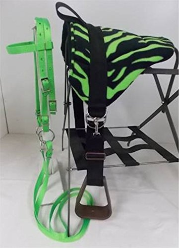MINIATURE HORSE / SM PONY BAREBACK SADDLE SET – LIME GREEN ZEBRA