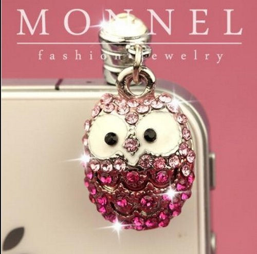 (ip161e Cute Pink Crystal OWL Cell Phone 3.5mm Ear Cap Anti Dust Plug Charm)