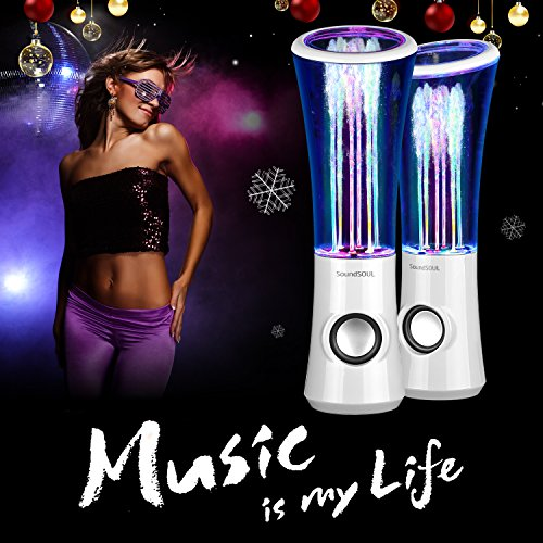 SoundSOUL Dancing Water Speakers LED Speakers Water Fountain Speakers Mini Music Amplifier(6 Colored LED Lights,Dual 3W Speakers,Perfect Birthday/Thanksgiving for Your Family) - White by SoundSOUL (Image #1)
