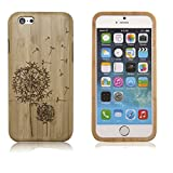 iPhone 6s Case, WONFAST® Unique Handmade Natural Wood Wooden Hard Bamboo Shockproof Cases Cover for iPhone 6 6S 4.7inch phone (Dandelion)