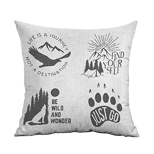 FreeKite Cabin Decor Silky Pillowcase Wilderness Hand Drawn Typography Posters Emblems Quotes Hipster Art Super Soft and Luxurious Pillowcase W20 x L20 Inch Chorcoal Grey Coconut