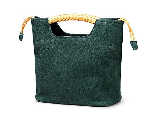 Bolsos de señora Xinmaoyuan sección Vertical cuadrado bolso de cuero genuino del hombro bolsa de cuchara retro cruz diagonal Bolsa tejida,color caramelo Green