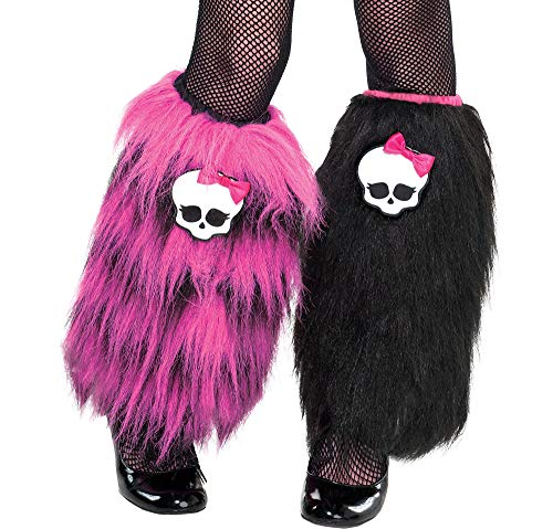 (Monster High Furry Leg Warmers for Girls, Pink and Black, One Size, by)