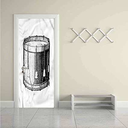 Snare Drum Door Sticker Vintage Style Art Melody Decor Door