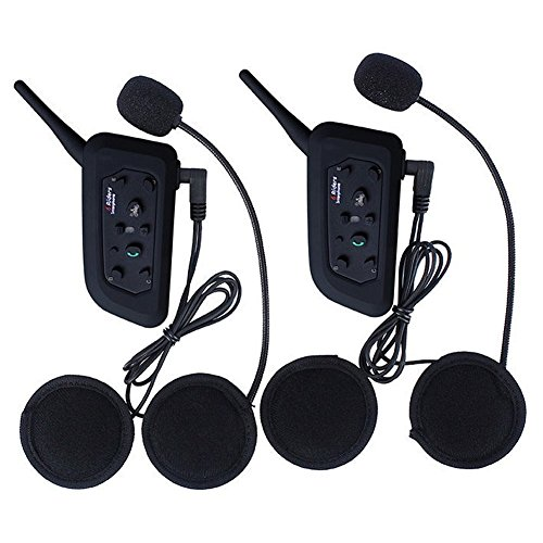 Motorcycle Intercom Bluetooth Helmet Headset ESoku V6 BT 1200 Meter Full Duplex Motobike Wireless Headphone 6 Riders Communicator Talk for Skiing Motorbike Camping (2 Sets) (Duplex Full Headset)