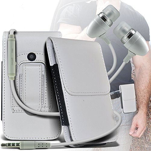 (White) Alcatel OT-706 PU Leather Belt Holster Pouch Case Cover Holder And Premium Quality in Ear Buds Stereo Hands Free Headphones Headset with Built in Microphone Mic and On-Off Button - 706 Leather