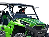 SuperATV Heavy Duty Scratch Resistant Flip Windshield for Kawasaki Teryx 750 4/800 / 800 4 (2012-2015) - Can be Set to Open, Vented, or Closed - Easy to Install!