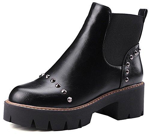 Easemax Women's Stylish Studded Round Toe Mid Block Heeled Martin Short Ankle High Boots Black