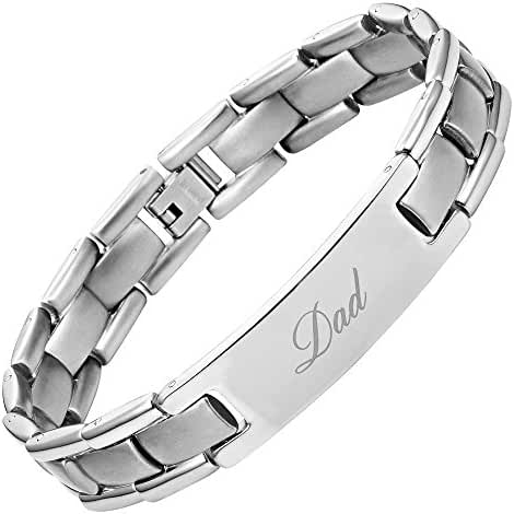 DAD Titanium Bracelet Engraved Best Dad Ever Size Adjusting Tool and Gift Box Included by Willis Judd