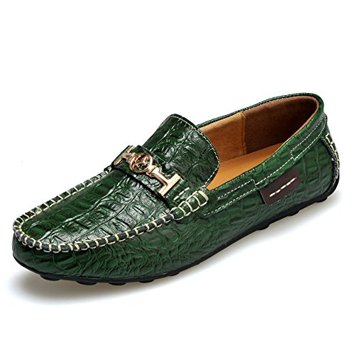 rismart Mens High-End Water Resistant Croco Stamping Leather Driving Shoes Stylish Warm Lining Loafer Flats Green 1314 US8 Green Croco Print