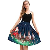 WOCACHI Final Clear Out Christmas Skirts Womens Vintage A-Line Elastic High Waist Xmas Mini Skirt Bodycon Vintage Santa Long Sleeves Evening Prom Costume Maxi Knee Length (Blue, Large)