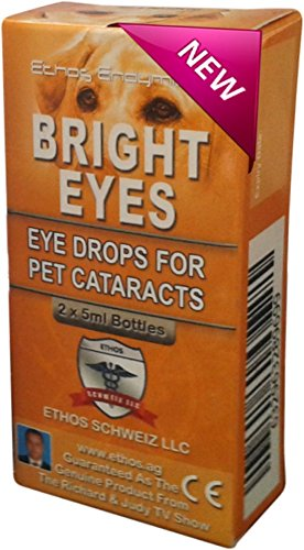 Ethos Bright EyesTM Carnosine Eye Drops for Pets - NAC Eye Drops for Pets as Seen on UK National TV with Amazing Results! (Dog Eyes Bright)