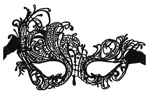 (Luxury Mask Women's Lace Eye Mask For Masquerade Party Prom Ball Halloween,Black Swan Mask New,One)