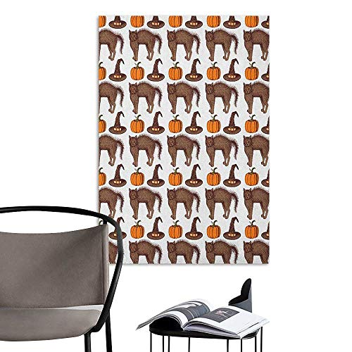Art Decor 3D Wall Mural Wallpaper Stickers Halloween Seasonal Vintage Pattern with Pumpkin Squash Witch Hats and Cat Figures Brown Orange Green Large Removable Decals W16 x H20]()