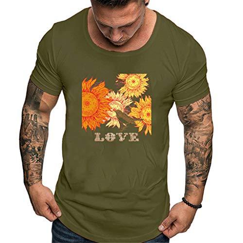 iHPH7 T-Shirt Fashion Solid Printing Style Design T-Shirt Casual Shirts Tops Blouse Men (M,2- Green)]()
