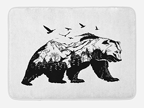Wildlife Silhouette Design - Ambesonne Bear Bath Mat, Mammal Silhouette with Mountain Landscape Flying Birds and Forest Wildlife Design, Plush Bathroom Decor Mat with Non Slip Backing, 29.5 W X 17.5 W Inches, Black White