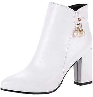 c291b0ac55c Aisun Femme Mode Talon Bloc Moyen Bout Carré Low Boots Bottines ...