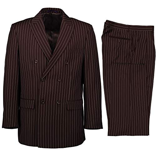 VINCI Men's Gangster Pinstriped Double Breasted 6 Button Classic Fit Suit Brown | Size: 38 Short / 32 Waist ()