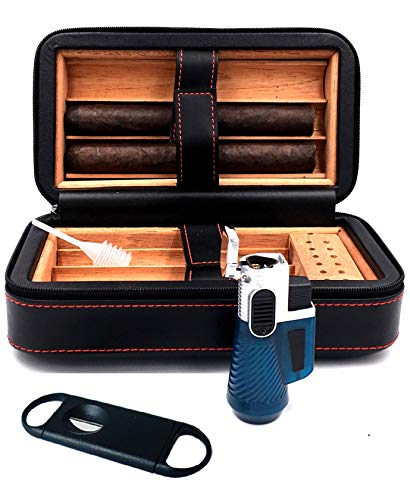 Gift Pouch Set (Fess Products Travel 6 Cigar Humidor, Spanish Cedar Wood Cigar Case, Portable Cigar Box with Humidifier, Cigar Cutter, Pouch Gift Set)