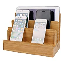 Bamboo Wood Charging Stand,Multi-Device Charging Station Dock & Organizer - Multiple Finishes Available Bamboo Stand Holder for iPhone ipad mini ipad & All Tablet PC & Mobile Phone
