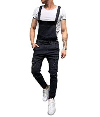 5f99f78e843 lisenraIn Men s Denim Bib Overalls Fashion Ripped Jeans Slim Jumpsuit with  Pockets (Black