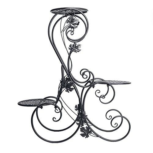 Dazone® 3-Tiered Scroll Decorative Metal Garden Patio Standing Plant Flower Pot Rack Display Shelf Holds 3-Flower Pot (Black) by DAZONE