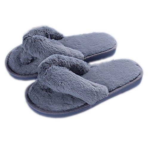 Comfort Indoor Cozy Fur Plush Women's LINGMIN Nonslip Grey Thong Terrycloth Slipper on Slip Softness USgXxnxqw
