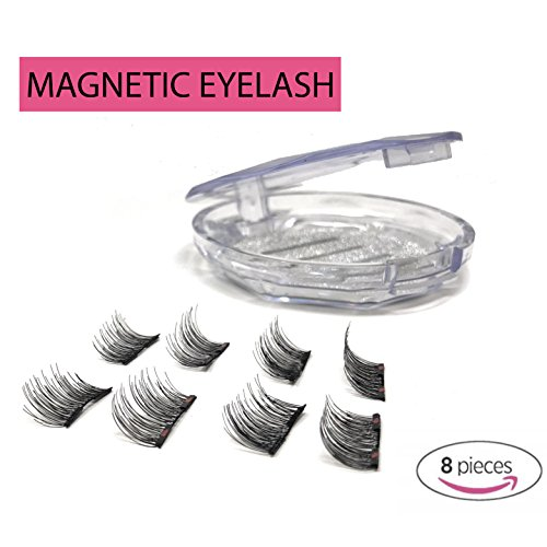 8x Magnetic Eyelash Extensions (Glue Free) Premium Double Ultra Thin Magnet, Half Size – 3D Natural Look in Black Round Case -