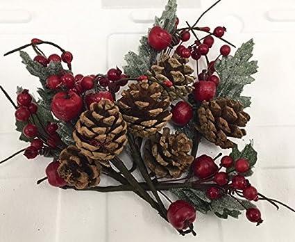 6 PEZZI Pick Fiore Pigna E Bacche ROSSE DECORAZIONE ALBERO NATALE Fiori Di  Natale