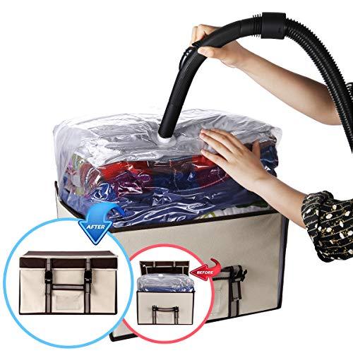 VICOODA Storage Bag Organizers, Fabrics 40 Liter Storage Bags Foldable Underbed Storage Bag with a Vacuum Storage Bag for Comforters, Pillows, Blanket, Duvet, Beige
