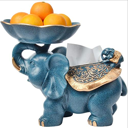 - YUN Nordic Style Elephant Sculpture Decoration Living Room Decoration Simple Tissue Box Storage Coffee Table Display -3 Color Optional (Color : Blue)