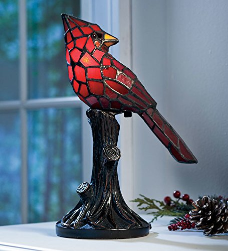 Table Lamp Cardinals Tiffany (Small Vintage Tiffany Style Stained Glass Red Cardinal Accent Table Lamp 7 L x 4.5 W x 11 H)