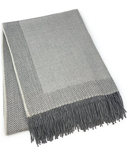 Incredibly Soft 100% Baby Alpaca Wool Sofa Throw Blanket - Woven by Hand, All Natural, Reversible Herringbone Pattern with Fringe Perfect for Bedroom or Living Room (Silver / Bone) ()