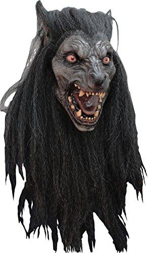 UHC Men's Horror Black Moon Werewolf Latex Mask Halloween Costume (Moon Halloween Costumes)