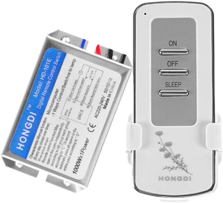 Vosarea Interruptor de Mando a Distancia inal/ámbrico 220/V a Canal /único Interruptor de Control Remoto para l/ámpara