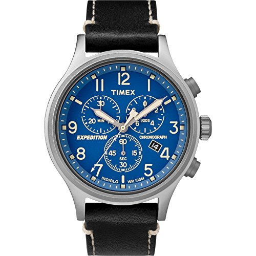 0 Expedition Scout Chrono Black/Blue Leather Strap Watch (Black Chrono Strap)