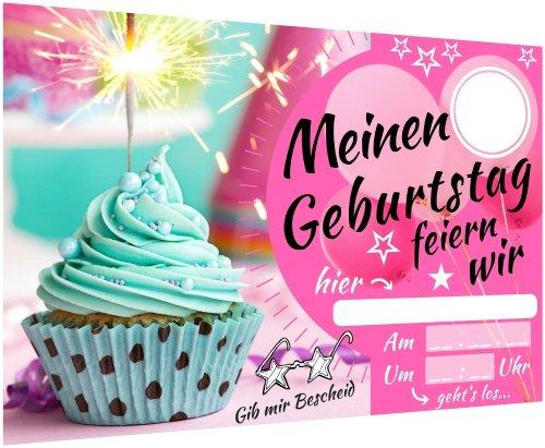 Toll Einladungskarten Kindergeburtstag U2013 Mädchen Party U2013  Geburtstagskarte Mit Glitzer Muffin U2013 Schicke Einladung Zum Kinder