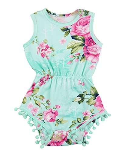 PoshPeanut Cute Toddler Baby Girls' Floral Summer Outfit PomPom Romper (S / 3 to 6 months, Aqua/Floral)
