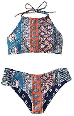 Mumentfienlis Womens Padded Two Piece Vintage Halter Bikini Swimsuit
