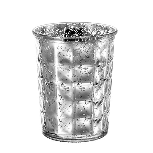 Silver Round Candle - V-More Silver Large Mercury Glass Candle Holder Votive Candle Holder Tealight Holder 4.5-inch Tall for Home Decor Wedding Party Celebration (Set of 3)
